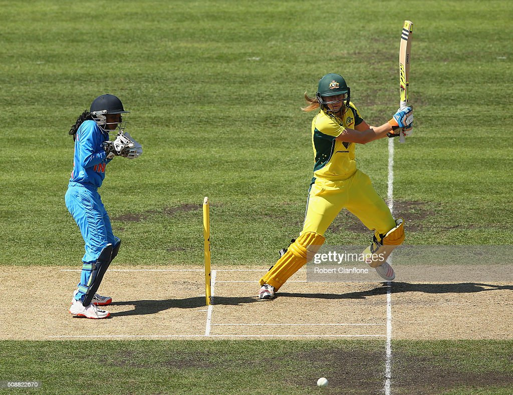 Ellyse Perry of Australia bats during game three of the one day international series between Australia and India at Blundstone Arena on February 7, 2016 in Hobart, Australia.