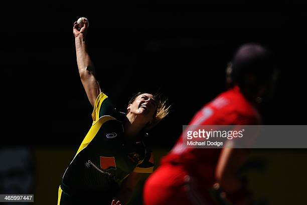 Ellyse Perry of Australia bowls during game two of the International Twenty20 series between Australia and England at the Melbourne Cricket Ground on...