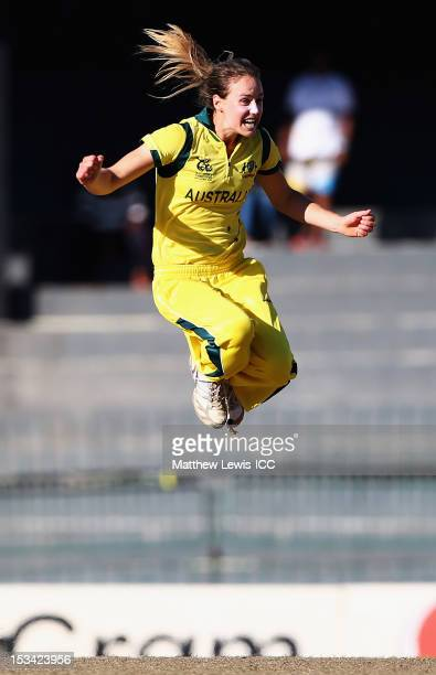 Ellyse Perry of Australia celebrates bowling Deandra Dottin of the West Indies during the ICC Women's World Twenty20 2012 Semi Final match between...