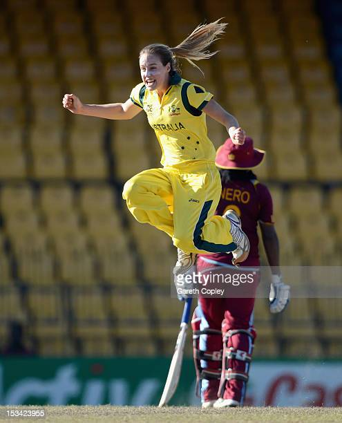 Ellyse Perry of Australia celebrates dismissing Deandra Dottin of the West Indies during the ICC Women's World Twenty20 2012 Semi Final between...