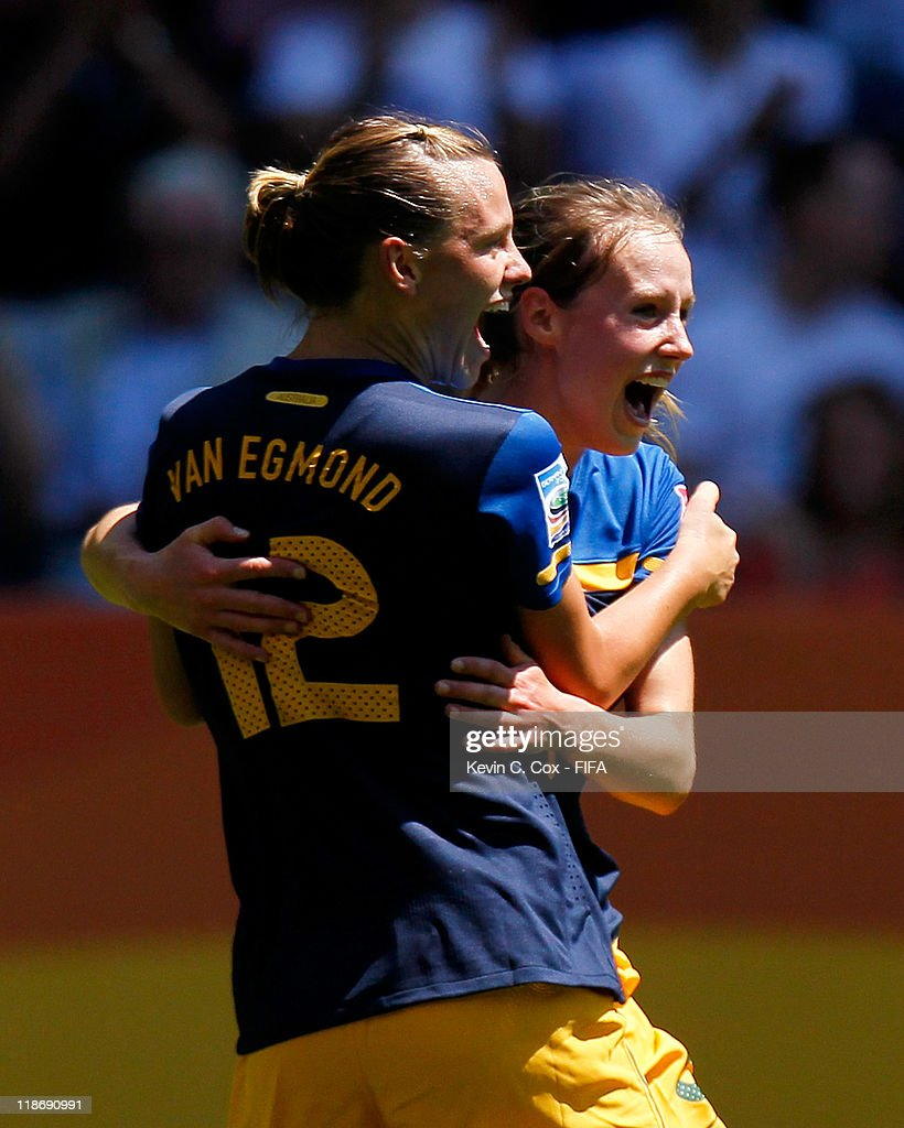 Ellyse Perry of Australia celebrates her goal against Sweden with Emily Van Egmond during the FIFA Women's World Cup 2011 Quarter Final match between...