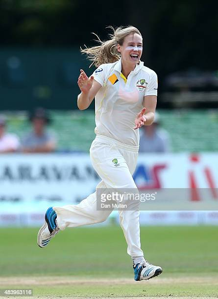 Ellyse Perry of Australia celebrates taking the wicket of Sarah Taylor of England during day four of the Kia Women's Test of the Women's Ashes Series...