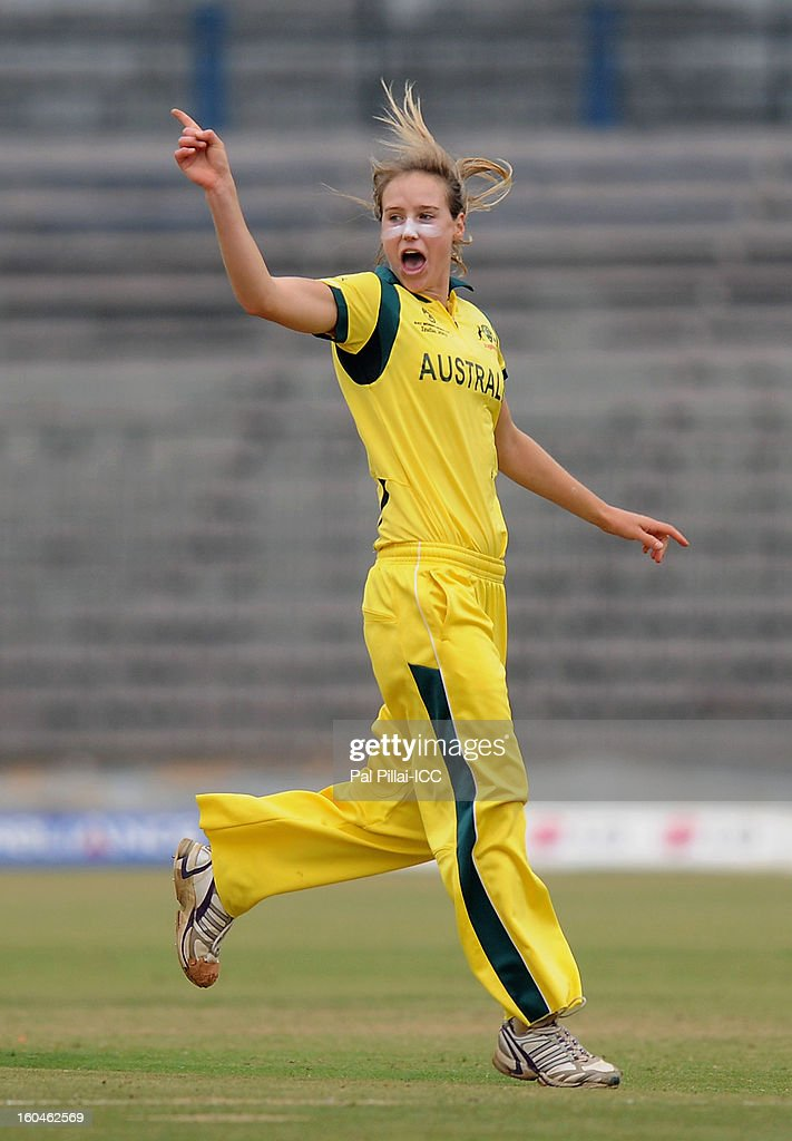 Ellyse Perry of Australia celebrates the wicket of Nahida Khan of Pakistan during the second match of ICC Womens World Cup between Australia and Pakistan, played at the Barabati stadium on February 1, 2013 in Cuttack, India.