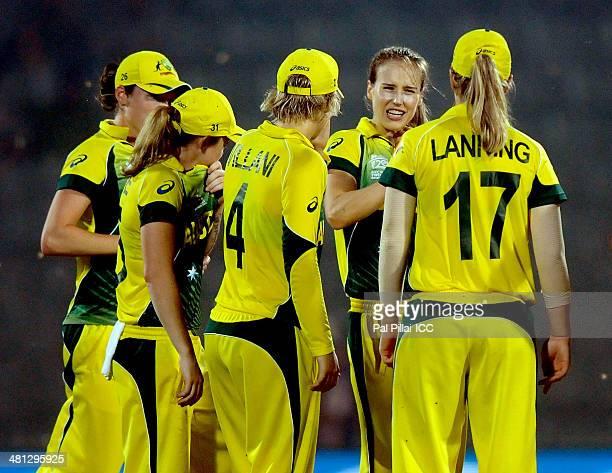 Ellyse Perry of Australia celebrates the wicket of Nahida Khan of Paksitan during the ICC Women's world twenty20 match between Australia Women and...