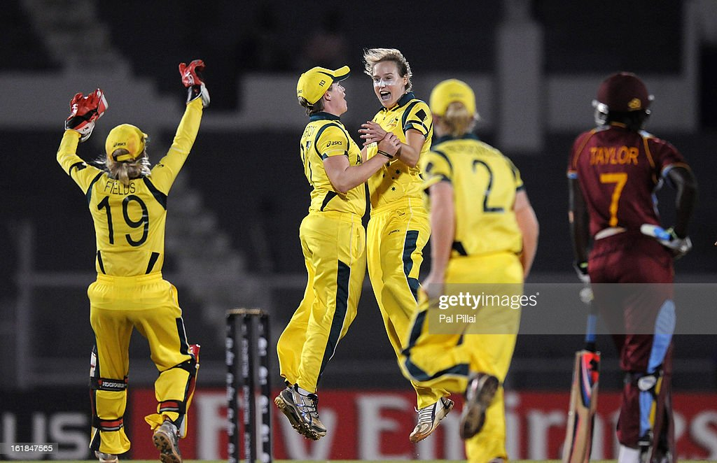 Ellyse Perry of Australia celebrates the wicket of Stafanie Taylor of West Indies during the final between Australia and West Indies held at the CCI (Cricket Club of India) stadium on February 17, 2013 in Mumbai, India.