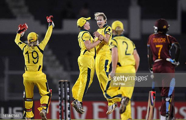 Ellyse Perry of Australia celebrates the wicket of Stafanie Taylor of West Indies during the final between Australia and West Indies held at the CCI...