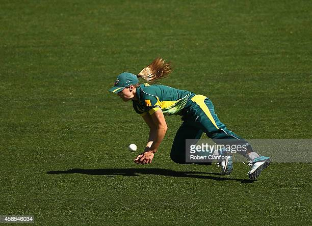 Ellyse Perry of Australia drops a catch during game three of the International Women's Twenty20 match between Australia and the West Indies at...