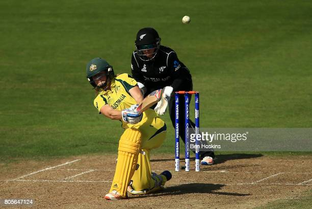 Ellyse Perry of Australia hits out during the ICC Women's World Cup 2017 match between Australia and New Zealand at The County Ground on July 2 2017...