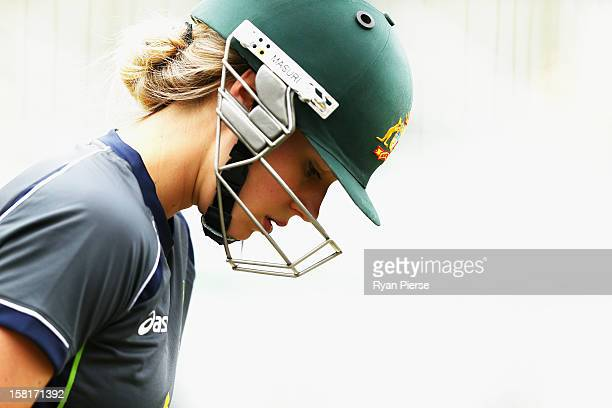 Ellyse Perry of Australia looks on during an Australian women's cricket training session at Sydney Cricket Ground on December 11 2012 in Sydney...