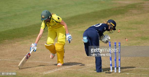 Ellyse Perry of Australia survives a runout chance by Sarah Taylor of England during the ICC Women's World Cup 2017 match between England and...