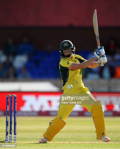 Ellyse Perry of Australiabats during the ICC Women's World Cup 2017 match between Australia and India at The 3aaa County Ground on July 20 2017 in...