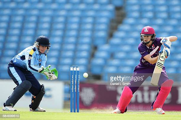 Ellyse Perry of Loughborough bats during the inaugural Kia Super League women's cricket match between Yorkshire Diamonds and Loughborough Lightning...