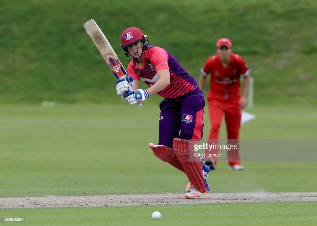 Ellyse Perry of Loughborough Lightning bats during the Kia Super League match between Lancashire Thunder and Loughborough Lightning at Blackpool Cricket Club on August 20, 2017 in Blackpool, England.
