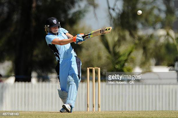 Ellyse Perry of New South Wales bats during the women's T20 match between Queensland and New South Wales at Allan Border Field on October 24 2014 in...