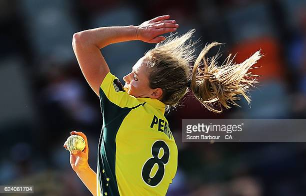 Ellyse Perry of the Australian Southern Stars bowls during the women's one day international match between the Australian Southern Stars and South...