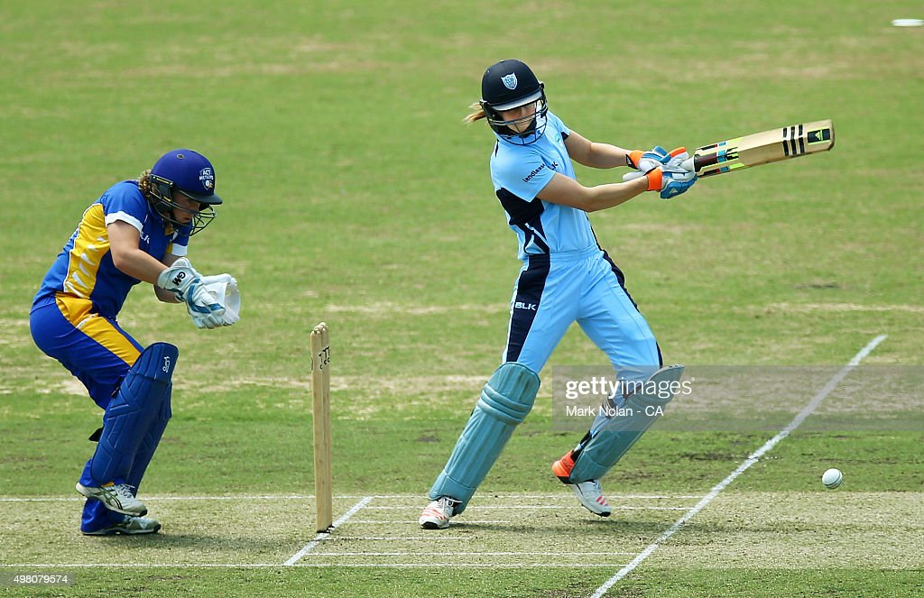 Ellyse Perry of the Brekares bats during the WNCL match between the ACT Meteors and New South Wales Breakers at Manuka Oval on November 21 2015 in...