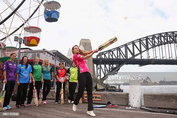 Ellyse Perry of the Sydney Sixers hits a ball during the Women's Big Bash League season launch at Luna Park on July 10 2015 in Sydney Australia