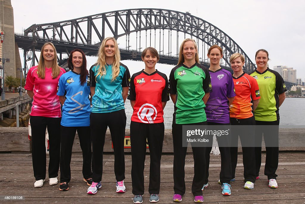 <a gi-track='captionPersonalityLinkClicked' href=/galleries/search?phrase=Ellyse+Perry&family=editorial&specificpeople=4414813 ng-click='$event.stopPropagation()'>Ellyse Perry</a> of the Sydney Sixers, <a gi-track='captionPersonalityLinkClicked' href=/galleries/search?phrase=Megan+Schutt&family=editorial&specificpeople=8558837 ng-click='$event.stopPropagation()'>Megan Schutt</a> of the Adelaide Strikers, <a gi-track='captionPersonalityLinkClicked' href=/galleries/search?phrase=Holly+Ferling&family=editorial&specificpeople=10058807 ng-click='$event.stopPropagation()'>Holly Ferling</a> of the Brisbane Heat, <a gi-track='captionPersonalityLinkClicked' href=/galleries/search?phrase=Sarah+Elliott+-+Jugadora+de+cr%C3%ADquet&family=editorial&specificpeople=12725636 ng-click='$event.stopPropagation()'>Sarah Elliott</a> of the Melbourne Renegades, <a gi-track='captionPersonalityLinkClicked' href=/galleries/search?phrase=Meg+Lanning&family=editorial&specificpeople=5656168 ng-click='$event.stopPropagation()'>Meg Lanning</a> of the Melbourne Stars, <a gi-track='captionPersonalityLinkClicked' href=/galleries/search?phrase=Julie+Hunter&family=editorial&specificpeople=2132021 ng-click='$event.stopPropagation()'>Julie Hunter</a> of the Hobart Hurricanes, <a gi-track='captionPersonalityLinkClicked' href=/galleries/search?phrase=Jess+Cameron+-+Jugadora+de+cr%C3%ADquet&family=editorial&specificpeople=12709381 ng-click='$event.stopPropagation()'>Jess Cameron</a> of the Perth Scorchers and <a gi-track='captionPersonalityLinkClicked' href=/galleries/search?phrase=Rene+Farrell&family=editorial&specificpeople=4081063 ng-click='$event.stopPropagation()'>Rene Farrell</a> of the Sydney Thunder poseduring the Women's Big Bash League season launch at Luna Park on July 10, 2015 in Sydney, Australia.