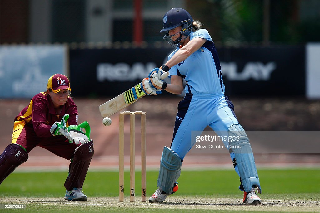 Ellyse Perry on her way to her half century against Queensland Fire at Hurstville Oval in Sydney Australia Sunday Nov 1st 2015
