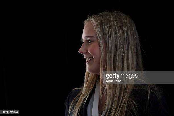 Ellyse Perry watches on during the Australian Southern Stars Ashes Squad Announcement at the Sydney Cricket Ground on May 21 2013 in Sydney Australia