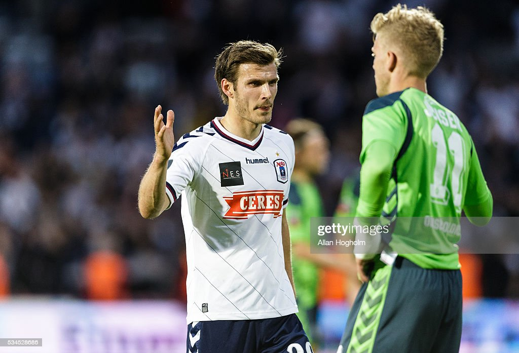 Elmar Bjarnason of AGF celebrate their victory after the Danish Alka Superliga match between AGF Aarhus and OB Odense at Ceres Park on May 26, 2016 in Aarhus, Denmark.