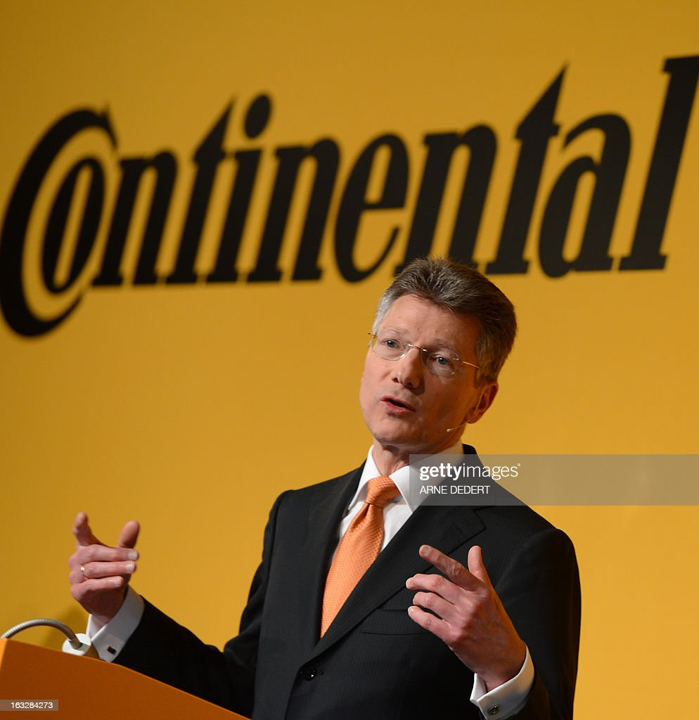 Elmar Degenhart, CEO of Continental, the German maker of automotive parts, speaks at the company's annual results press conference in Frankfurt am Main, western Germany, March 7, 2013. Continental group said March 7, 2013 that it achieved record results in 2012 and expects its success to continue this year. AFP PHOTO / ARNE DEDERT GERMANY OUT