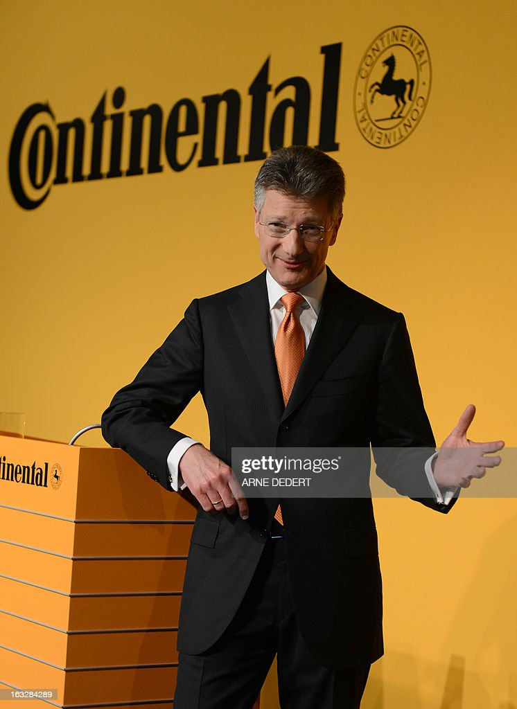 Elmar Degenhart, CEO of Continental, the German maker of automotive parts, gestures as he attends the company's annual results press conference in Frankfurt am Main, western Germany, March 7, 2013. Continental group said March 7, 2013 that it achieved record results in 2012 and expects its success to continue this year.