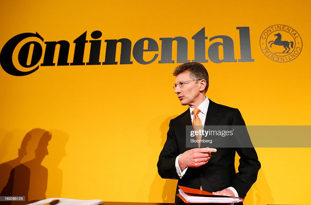 Elmar Degenhart, chief executive officer of Continental AG, arrives for a news conference to announce earnings in Frankfurt, Germany, on Thursday, March 7, 2013. Continental AG, Europe's second-largest maker of auto parts, stuck with its 2013 forecasts even as the region's auto market declines in the first quarter more than industry executives had anticipated. Photographer: Ralph Orlowski/Bloomberg via Getty Images