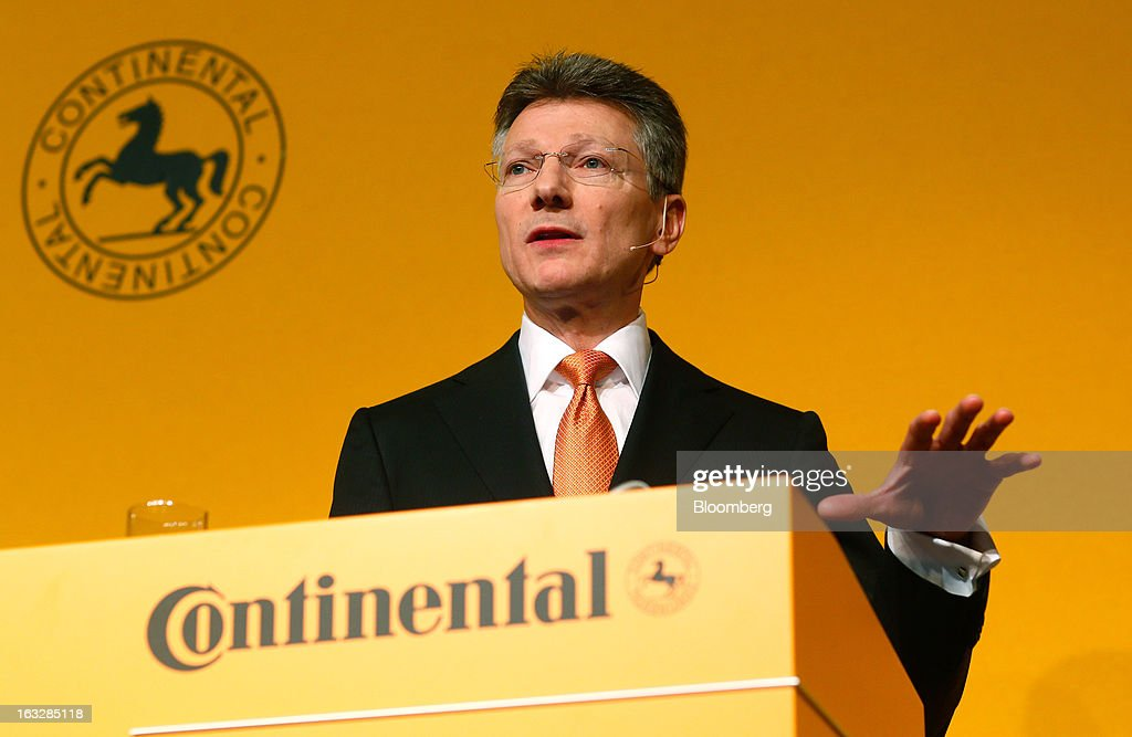 Elmar Degenhart, chief executive officer of Continental AG, gestures whilst speaking during a news conference to announce earnings in Frankfurt, Germany, on Thursday, March 7, 2013. Continental AG, Europe's second-largest maker of auto parts, stuck with its 2013 forecasts even as the region's auto market declines in the first quarter more than industry executives had anticipated. Photographer: Ralph Orlowski/Bloomberg via Getty Images