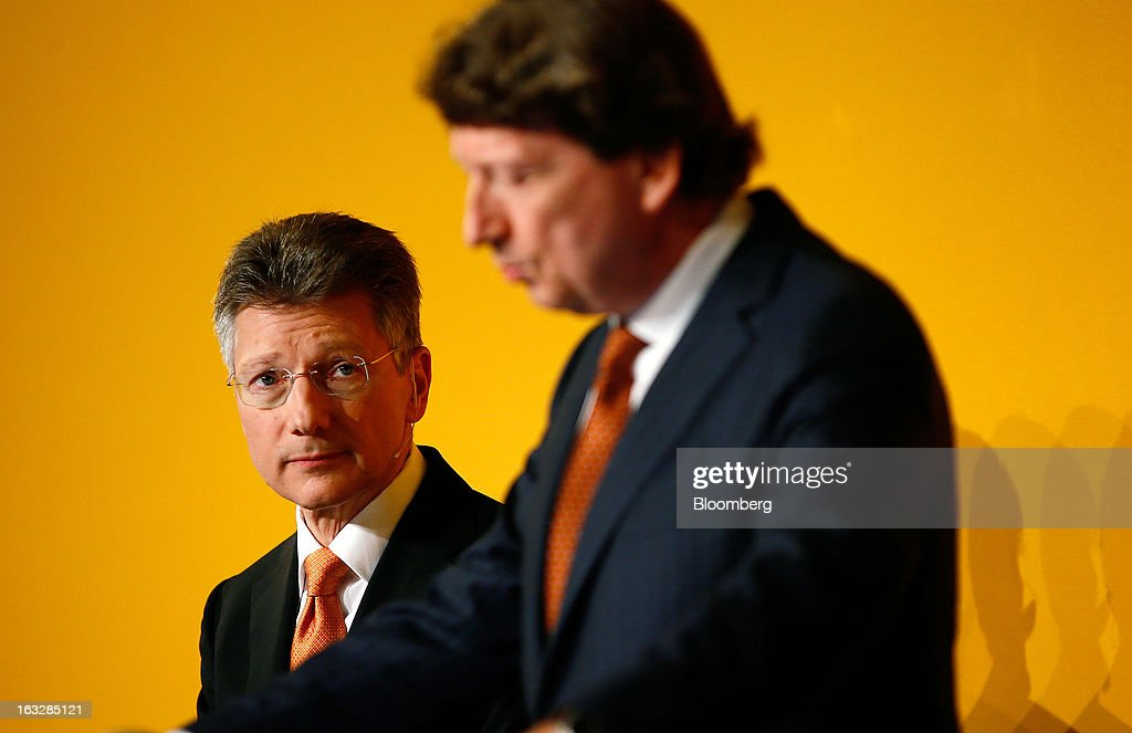 Elmar Degenhart, chief executive officer of Continental AG, left, listens as Wolfgang Schaefer, chief financial officer of Continental AG, speaks during a news conference to announce earnings in Frankfurt, Germany, on Thursday, March 7, 2013. Continental AG, Europe's second-largest maker of auto parts, stuck with its 2013 forecasts even as the region's auto market declines in the first quarter more than industry executives had anticipated. Photographer: Ralph Orlowski/Bloomberg via Getty Images