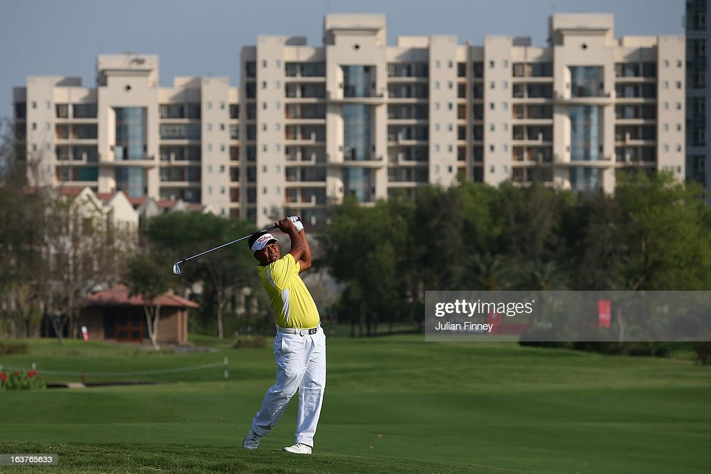 Elmer Salvador of Philippines in action during day two of the Avantha Masters at Jaypee Greens Golf Club on March 15, 2013 in Delhi, India.