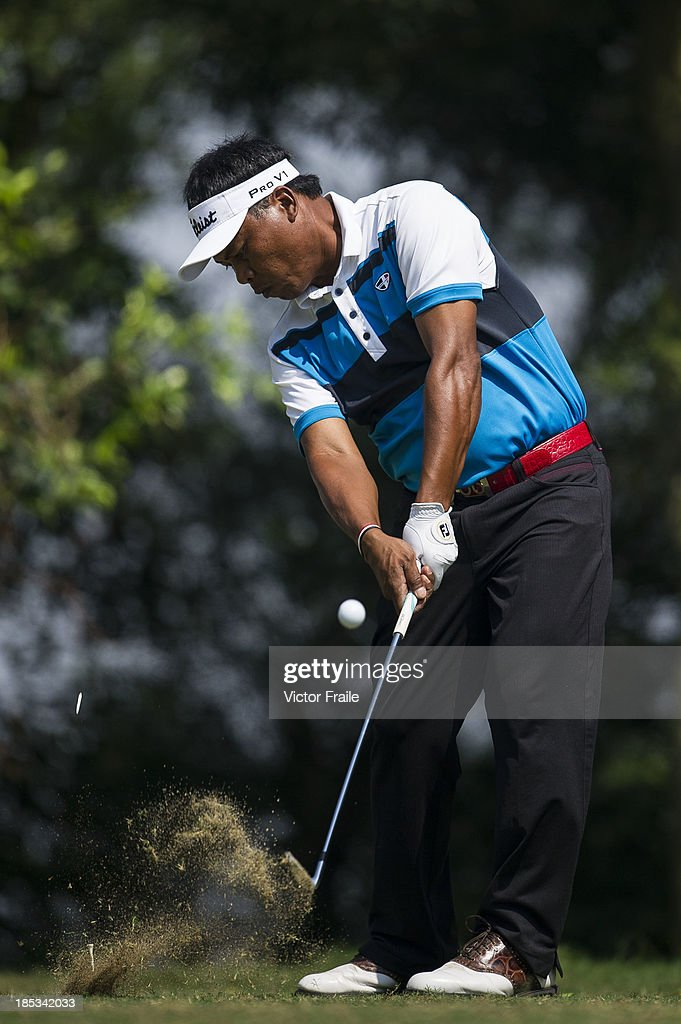 Elmer Salvador of Philippines tees off on the 6th hole during day three of the Venetian Macau Open at Macau Golf and Country Club on October 19, 2013 in Macau, Macau.