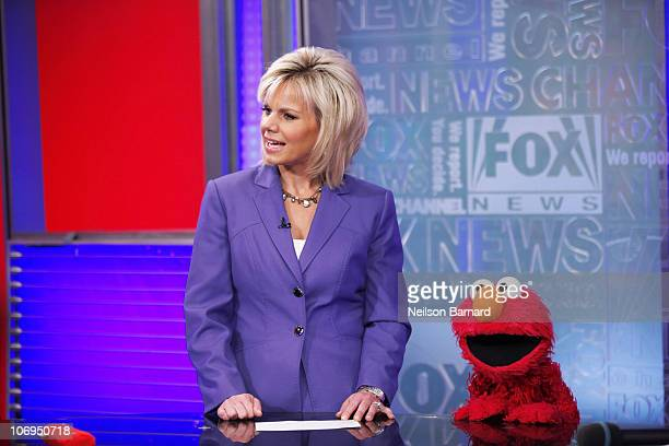 Elmo and host Gretchen Carlson visits 'FOX Friends' at the FOX Studios on November 18 2010 in New York City