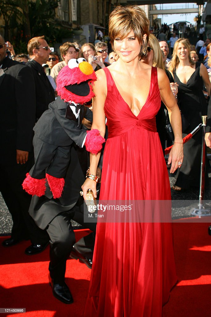 Elmo and <a gi-track='captionPersonalityLinkClicked' href=/galleries/search?phrase=Lisa+Rinna&family=editorial&specificpeople=202100 ng-click='$event.stopPropagation()'>Lisa Rinna</a> during 34th Annual Daytime Emmy Awards - Arrivals at Kodak Theatre in Hollywood, California, United States.