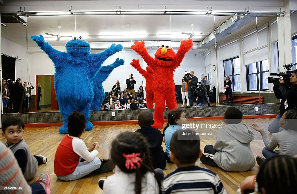 Cookie Monster and children from the Garden of Dreams Foundation attend Sesame Street Live Dance Class at Ripley Greer Studios on February 10, 2016 in New York City.