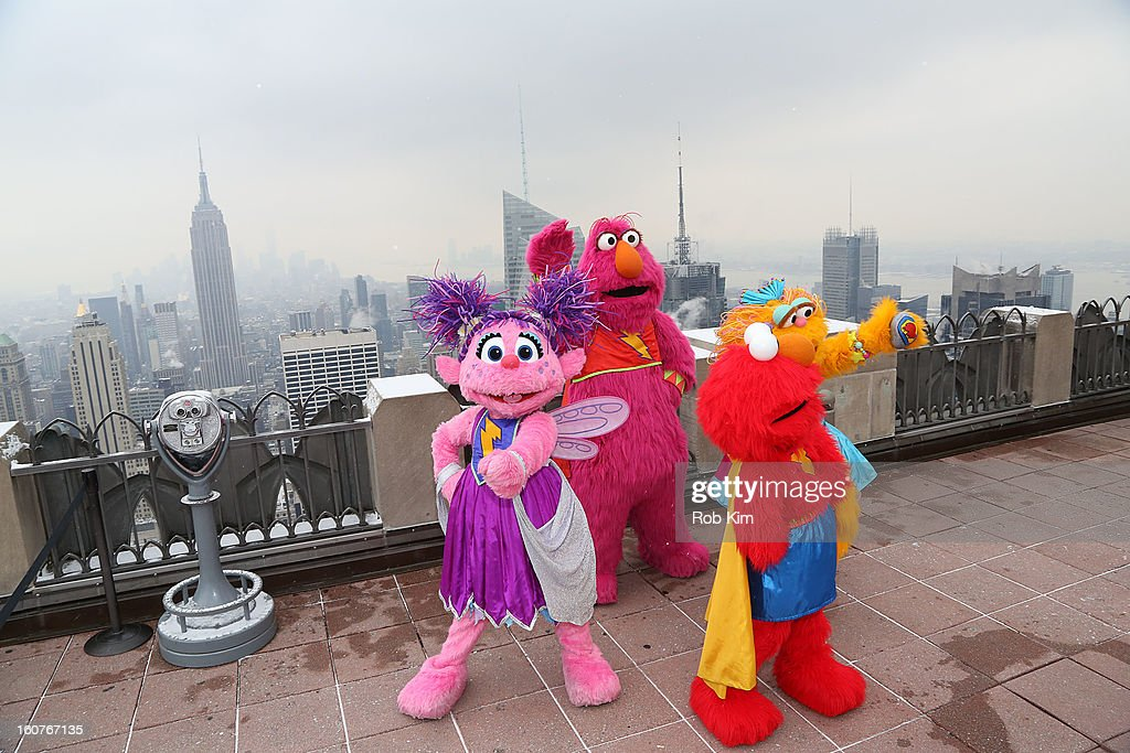 Elmo's Super Heroes Abby Cadabby, Telly, Elmo and Zoe visit the Top of the Rock Observation Deck at Rockefeller Center on February 5, 2013 in New York City.