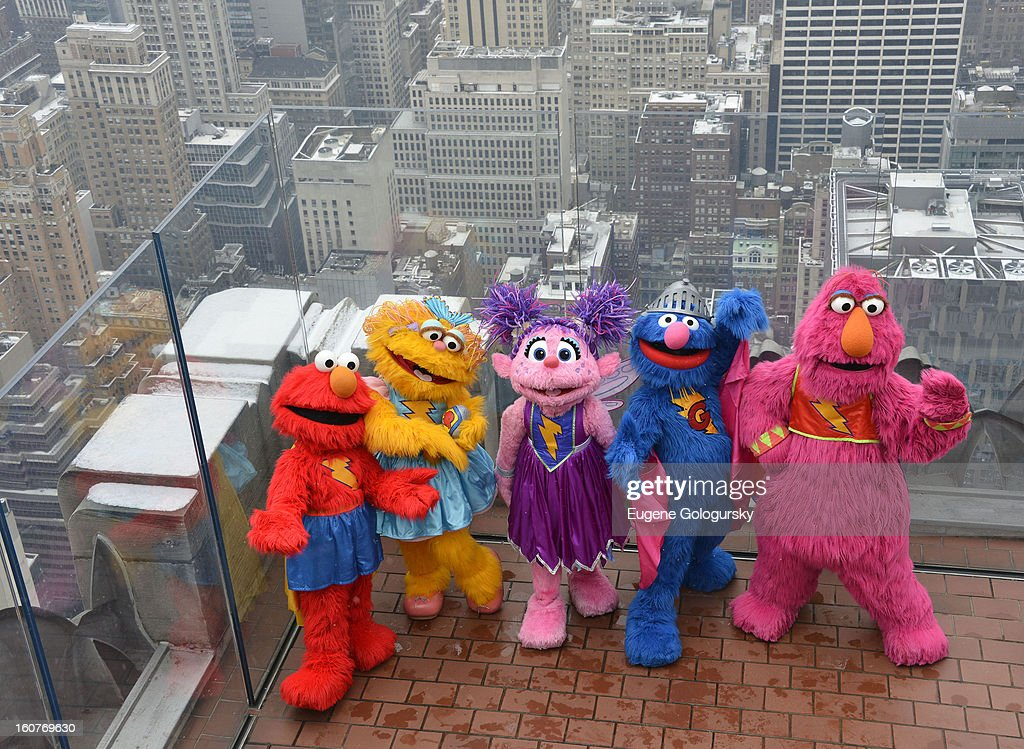 Elmo's Superheroes visit at Top of the Rock Observation Deck at Rockefeller Center on February 5, 2013 in New York City.