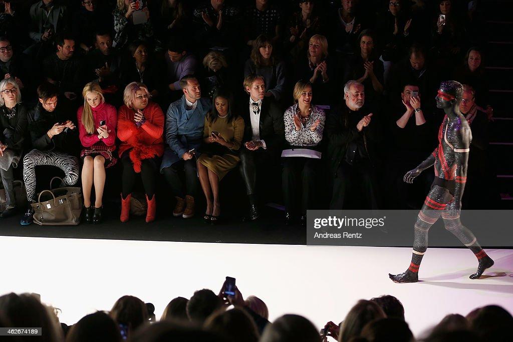 Elna-Margret zu Bentheim, Betty Amrhein, Motsi Mabuse, Bettina Cramer and Udo Walz attend the Riani show during Mercedes-Benz Fashion Week Autumn/Winter 2014/15 at Brandenburg Gate on January 14, 2014 in Berlin, Germany.