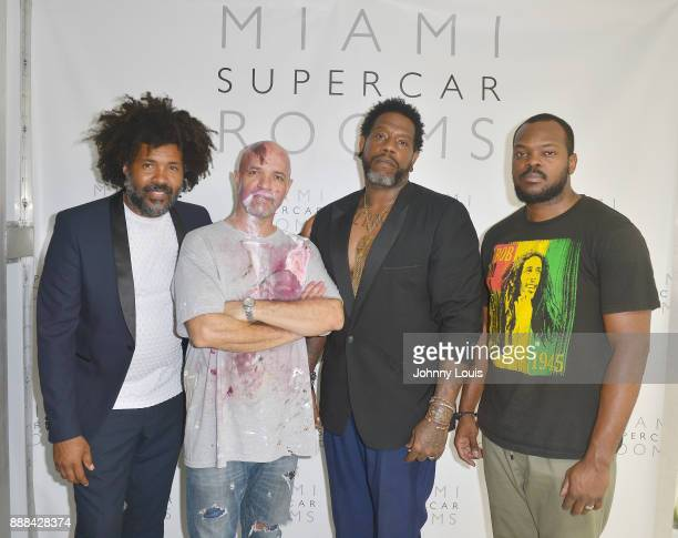 Elo Visual artist Santiago Betancur Z Moonshyne Brown and Rivenson attend a Private viewing and QA with Billy Corben and Mickey Munday An Exhibit of...