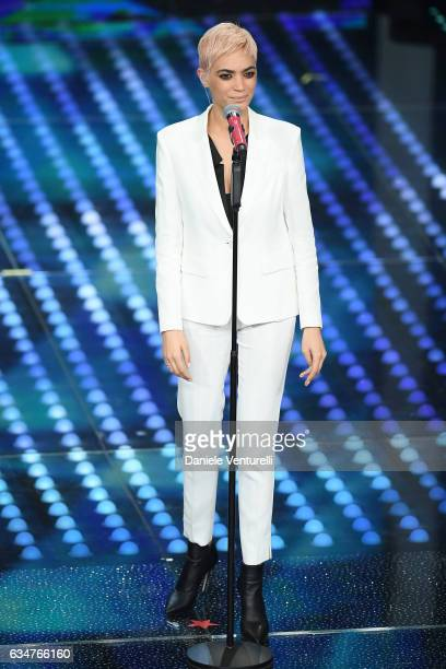 Elodie attends the closing night of 67th Sanremo Festival 2017 at Teatro Ariston on February 11 2017 in Sanremo Italy