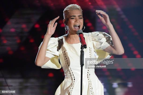 Elodie attends the fourth night of the 67th Sanremo Festival 2017 at Teatro Ariston on February 10 2017 in Sanremo Italy