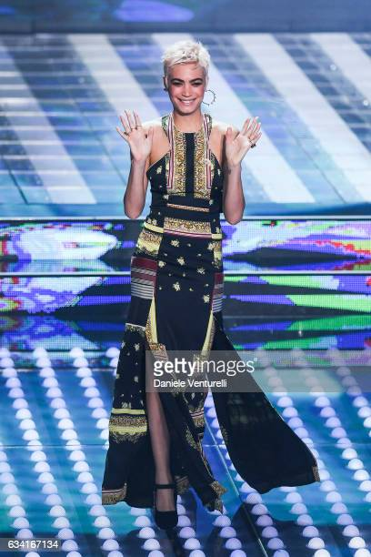 Elodie attends the opening night of the 67th Sanremo Festival 2017 at Teatro Ariston on February 7 2017 in Sanremo Italy