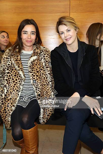 Elodie Bouchez and Virginie Mouzat attend the Anthony Vaccarello show as part of the Paris Fashion Week Womenswear Fall/Winter 2015/2016 on March 3...