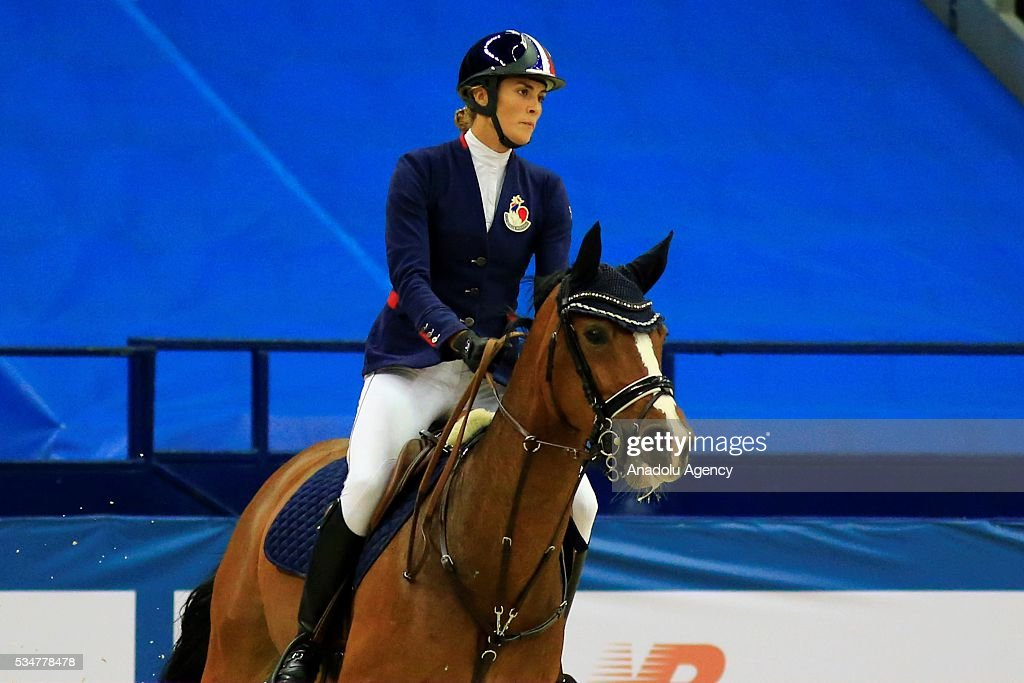 Elodie Clouvel of France competes during the riding discipline of the women's final at the modern pentathlon world championships in Moscow, Russia, on May 27, 2016.