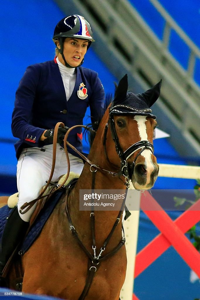 Elodie Clouvel of France with horse are seen during the riding discipline of the women's final at the modern pentathlon world championships in Moscow, Russia, on May 27, 2016.