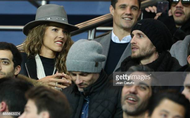 Elodie Fontan and Philippe Lacheau attend the French Ligue 1 match between Paris SaintGermain and Olympique Lyonnais at Parc des Princes stadium on...