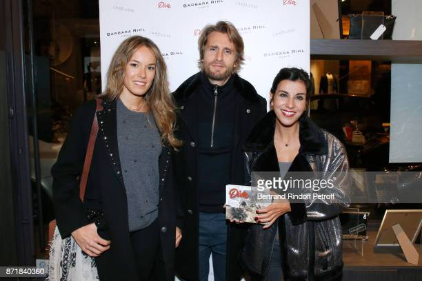 Elodie Fontan Philippe Lacheau and Reem Kherici attend Reem Kherici signs her book 'Diva' at the Barbara Rihl Boutique on November 8 2017 in Paris...