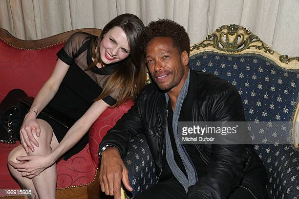 Elodie Frege and Gary Dourdan attend the 'Divamour' Launch Party at Tres Honore Bar on April 18 2013 in Paris France