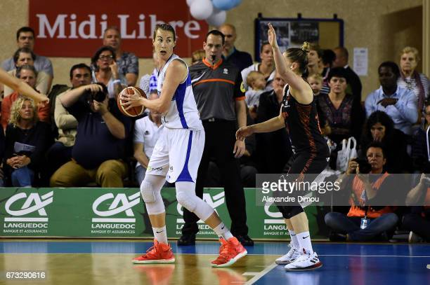 Elodie Godin of Montpellier during the Women's basketball match between Lattes Montpellier and Bourges Basket on April 25 2017 in Montpellier France
