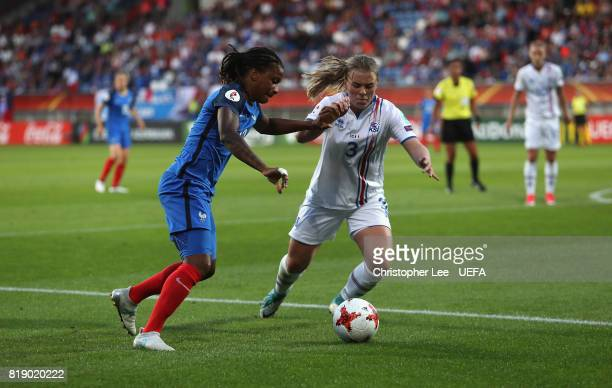 Elodie Thomis of France battles with Ingibjorg Sigurdardottir of Iceland during the UEFA Women's Euro 2017 Group C match between France and Iceland...